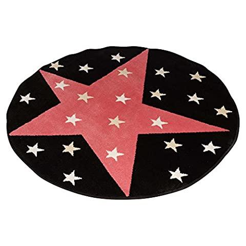 Kids Glow In The Dark Rugs - Choose from 7 Different styles. (Superstar Pink) by EG Homeware