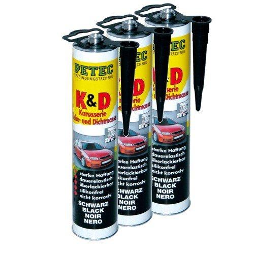 Preisvergleich Produktbild 3x PETEC K&D Karosserie Klebe- und Dichtmasse Klebemasse Dichtmasse Karosseriekleber Klebstoff Kleber Kartusche 310ml schwarz