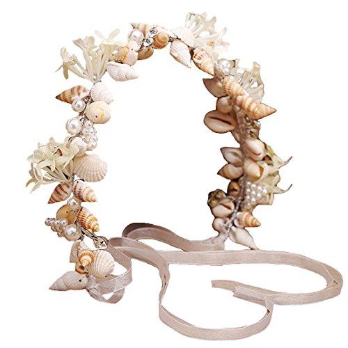 Dayiss® Braut Haarschmuck Handarbeit mit Perlen Muscheln Ktistall Hochzeit Rhinestone Brautschmuck (Muster 1)