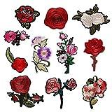 Souarts Aufnäher Kleidung Patch Applikationen zum aufbügeln DIY Aufbügler Rose Blumen Set Muster
