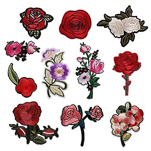 Souarts Aufnäher Kleidung Patch Applikationen zum aufbügeln DIY Aufbügler Rose Blumen Set Muster (Rosen Quilt Muster)