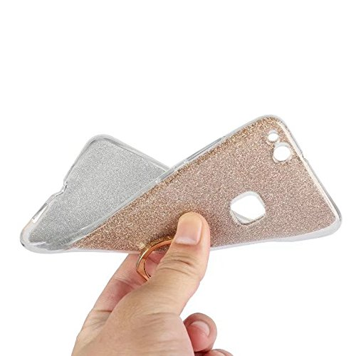 Soft Flexible TPU Back Cover Case Shockproof Schutzhülle mit Bling Glitter Sparkles und Kickstand für Huawei P10 Lite ( Color : Blue ) Gold