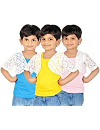 Gkidz Girls Combo Of 3 Graphic Cotton Vest And Shrug Pack of 3 (GIRLS-3PCK-VEST-CMB-7_ Multicolor)