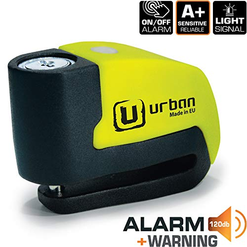 Urban Security UR6 Candado Antirrobo Disco con Alarma+Warning 120dB, 6, Made in EU.