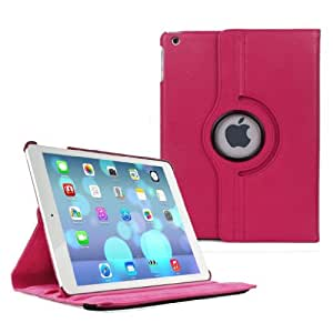 E2G Case® PU Leather 360 Degree Rotating Stand Case Cover for The New iPad2,3,4 with Stylus & Screen Protector - PINK