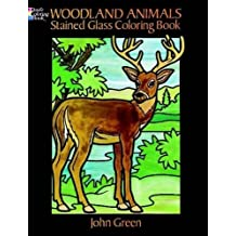 Woodland animals stained glass coloring book