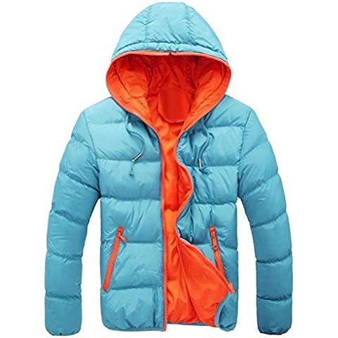 Koly_Mens rivestimento sottile incappucciato spessore inverno cappotto