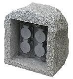 Steinsteckdose aus Granit Echtstein mit 4 Steckdosen rund