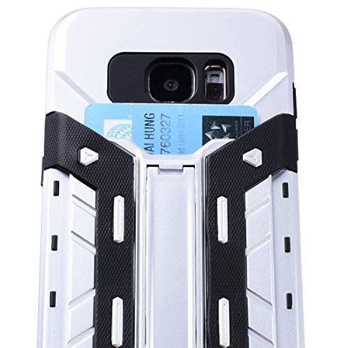 SMART LEGEND Hardcase für Samsung Galaxy S7 Edge Hülle mit Kartenfach Hartschale Standfunktion Schutzhülle Karten Slot Hybrid Handyhülle Tasche Skin Schale Hart PC Hardcover Clear Kristall Handytasche Silber