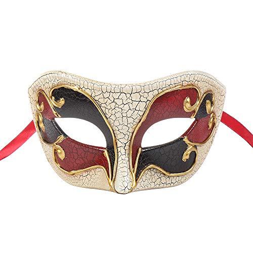 BLEVET Retro Venezianische Maskerade Maske Party Mardi Gras Venedig Prinzessin Halloween Karneval MZ057 (Red)