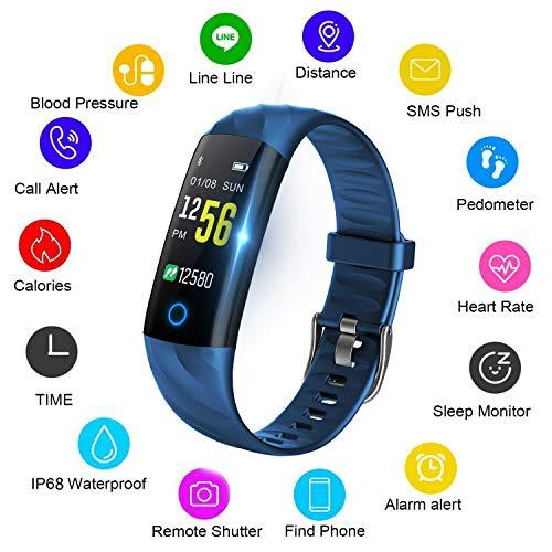 LIGE Fitness Tracker Farbbildschirm HR,Pulsmesser,Wasserdichter Aktivitäts-Tracker,Schrittzähler,Bluetooth Schlafmonitor,Schrittzähler für Männer,Frauen,Kinder für Android,iOS (Uhren Jungen Touch Kinder Screen)