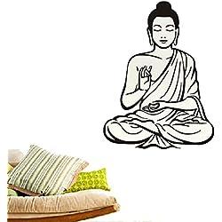 Gossipboy - vinilo adhesivo decorativo para pared (negro, Buda meditando, 76cm x 57cm)–para decoración del hogar