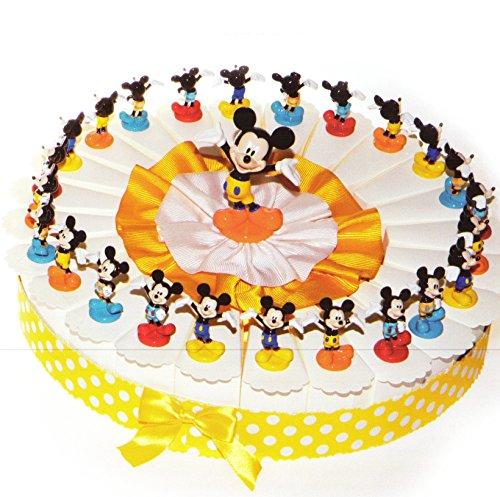Torta bomboniere 24 fette di torta con topolino in resina completo di confetti bianchi crispo al cioccolato