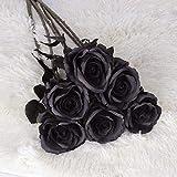Louiesya Künstliche Blumen Blumenstrauß Seide Rosen Real Touch Brautstrauß Hochzeit Blumenstrauß für Haus Garten Party Blumendeko 6 Stück schwarz