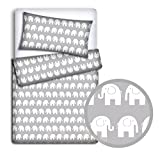 BABY BEDDING SET PILLOWCASE + DUVET COVER 2PC TO FIT BABY COT (Elephants grey) - TheLittles24 - amazon.co.uk