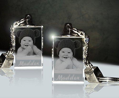 2 Stück Glas Schlüsselanhänger mit Fotogravur | Dein Baby immer dabei für Zwei | Doppelpack -
