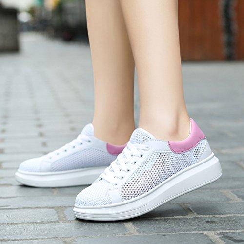 Damen Moderne Runde Zehen Mesh Schnürsenkel Slip On Flache Bunte Ferse  Bequeme Tägliche Sport Sneakers Pink