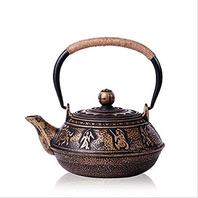 Q-HL Théières En fonte japonaises théière Bouilloire en fer, Bouilloire en fonte, Fait à la main, Sans revêtement, Couvercle en cuivre, Service à thé 1300 ml