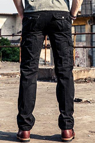 Klassisch Herren Carge Hose Freizeithose Arbeitshose Cargohose Loose-Fit Jogginghose Chinohose aus Baumwolle, 4 Farben verfügbar Dunkelgrau