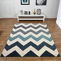 Nuevo Venus Zig Zag crema pato huevo azul gris extra grande hogar moderno alfombra 160x 230cm