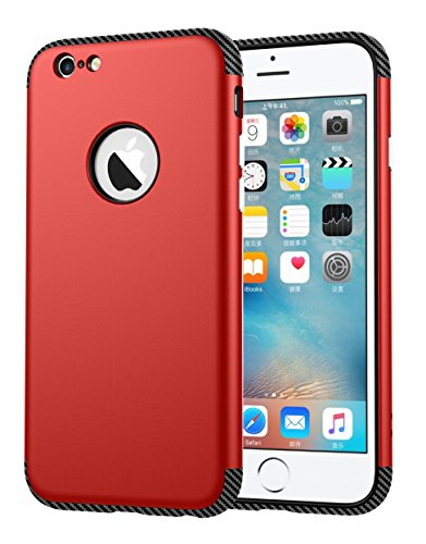 iPhone 6 Hülle, Oceanhome 2 in 1 Hart PC + TPU Case Cover Klassik Sport Schutz Schutzhülle [Stoßdämpfung] Carbon Faser Ladekantenschutz Anti Sturz Smart Phone Case für Apple iPhone 6 4.6 Hülle ( Rose  Rot