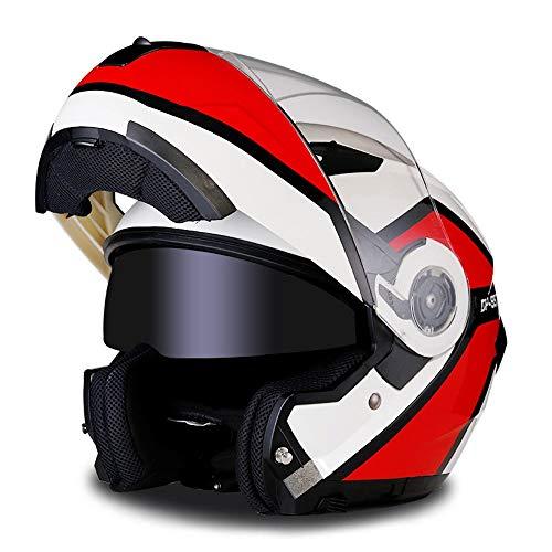 Exklusive Anpassung ABS-Material Motorrad Reithelm komplett überdachte Lokomotive Off-Road-Helm Doppellinse Full Face Helm Gesicht Helm 3 Zertifizierung Sicheres Fahren (Farbe : Red, Size : L) -