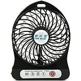 Ventilateur mini USB avec batterie rechargeable, 3 vitesses Ventilateur ventilateur portable, ventilateur de table de bureau pour les activités intérieures et extérieures (4 Inches)