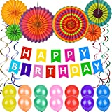 Happy Birthday Decorations, 45 Pack Party Supplies with Happy Birthday Banner, Rainbow Paper Fans, Glitter Hanging Swirl Decorations, 14pcs Colorful Party Balloons for Boys Girls Adults Birthday Party