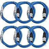 """Seismic Audio Seismic 6 Pack Blue 1/4"""" TRS - XLR Male 6' Patch Cables Blue - SATRXL-M6Blue6"""