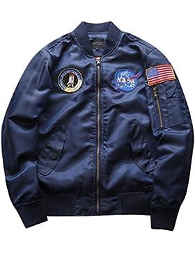 Hombre Bomber Jacket Suelto Casual Manga Larga Impresión Chaqueta De Bombardero Capa Outwear Armada XXXL
