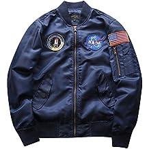 c6aeb8f2b9ed9 Yonglan Hombre Bomber Jacket Suelto Casual Manga Larga Impresión Chaqueta  De Bombardero Capa Outwear Armada XXL