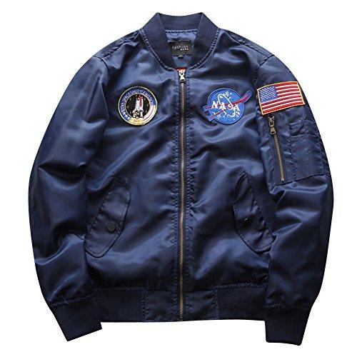Yonglan uomo bomber flight giacca sciolto casuale maniche lunghe volo jacket sportivo giubbotto cappotti marina militare xl
