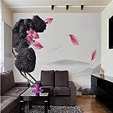 Carta da parati adesiva vintage bambini 3D Le oche del paesaggio dello stagno di loto dell'inchiostro oscillano la nuova parete della parete del fondo del salone della camera da letto della paret