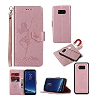 Galaxy S8 Case [Free Tempered Glass Screen Protector], CSMŽ PU Leather Embossed Butterfly Dancing Girl with [Detachable] Magnetic Flip Folio Kickstand Wallet Case for Samsung Galaxy S8 (2017), Rose Gold