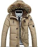 GLESTORE Herren Warme Winterjacke Parka mit Fell Baumwolle Wintermantel mit Pelzkragen Kapuzenjacke Outdoor Braun XL