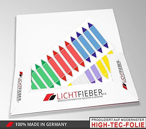 Rohrleitungskennzeichnungs-Aufkleber/Etiketten BLANKO mit 24 Aufklebern zum Beschriften speziell für Heizung & Heizungsanlagen/Größe jeweils 88x16mm