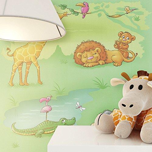 NEWROOM Kindertapete Grün Tiere Giraffe Kinder Papiertapete Blau,Grau,Grün,Orange,Pink,Weiß Papier Kindertapete Kinderzimmer Babytapete Babyzimmer Krokodil Niedlich