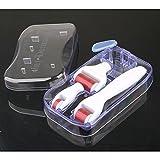 Hommii 4 in 1 Mikro Derma Roller Sterilisierte Titanium Nadeln Kit (0.5mm/180 Nadeln 1.0mm/600 Nadeln 1.5mm/1200 Nadeln) - Best Skin Roller Kit für Anti Ageing, Akne-Narben, Dehnungsstreifen, Falten, Augenbeutel , Körper, Gesicht, Haarausfall, Cellulite, Scalp -Weiß Griff mit Rot