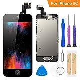 FLYLINKTECH Écran LCD Tactile de Remplacement pour iPhone 5C Noir 4.0 Pouces,modèle Complet préassemblés (caméra Frontale/Bouton Home/capteur de proximité/écouteur) Kit d'outils de réparation
