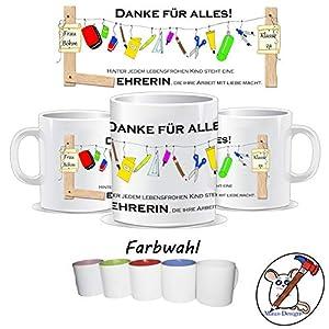 Tasse für den Lehrer/Lehrerin/Danke für alles/Personalisierbar mit Klasse und/oder dem Namen des Kindes und des/der Lehrers/Lehrerin/GESCHENKIDEE LEHRER, LEHRERIN