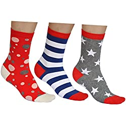 vitsocks Calcetines Divertidos Mujer Algodón Suave (3 PARES) Originales de Colores, lote 3: rayas, puntos, estrellas, 35-38