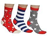Vitsocks Damen Socken bunt (3x Set) gemustert, Streifen Sterne Punkte, blau rot weiß grau, JOY, 35-38