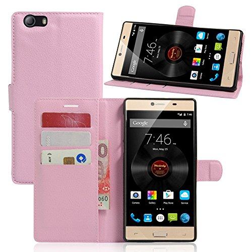 Tasche für Elephone M2 Hülle, Ycloud PU Ledertasche Flip Cover Wallet Case Handyhülle mit Stand Function Credit Card Slots Bookstyle Purse Design rosa