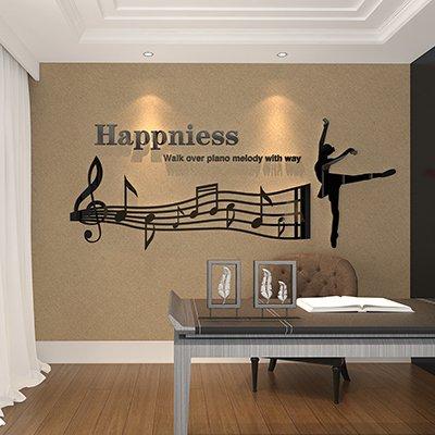 Jwqt doga acrilico 3d stereo adesivo parete note sfondo divano camera da letto soggiorno decorazione in aula abbellimento layout,279 linea di balletto - nero,piccola