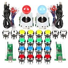 EG STARTS 2 Spieler Klassische Arcade Wettbewerb DIY Kits USB Encoder Zum PC Joystick + 8 Möglichkeiten Aufkleber + Chrome LED Leuchttaste 1 & 2 Spieler Münze Tasten Für Arcade Mame Raspberry Pi 2 3