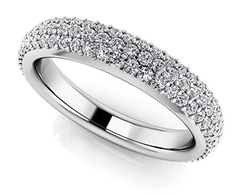 Oro bianco 14K Triple Row Pave Diamond Eternity Band, Oro bianco, 17,5, cod. UKASR35-A_W_2.63_8.25 - 5 Row Band Ring