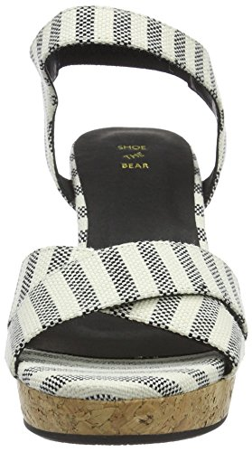 Shoe the Bear Alec Stripe, Sandales Bout Ouvert Femme Multicolore (110 BLACK)