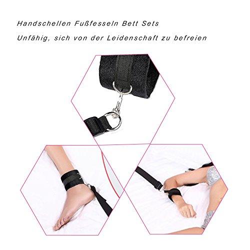 Bett Fesseln SM Fetisch Unter Bett Restraint Kit mit Handschellen Fußfesseln Bondage, Bettfessel Sexspielzeug(Schwarz) - 5