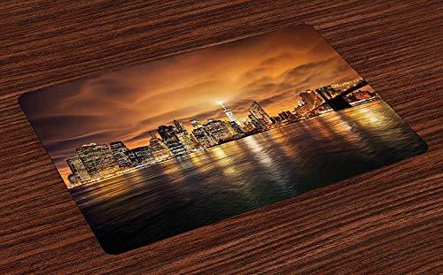 Cityscape Place Mats, Manhattan au coucher du soleil, New York, de Brooklyn Reflections Seaport Scenery Print, sets de table en tissu lavables pour la décoration de table de cuisine de salle à manger