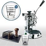 LaGondola Bundle–Máquina Caffe Espresso cromado la Pavoni Professional con manómetro y prensa de Metal Motta Soporte portafiltro y juego 6simpatiche tazas vasos de cristal Made in Italy